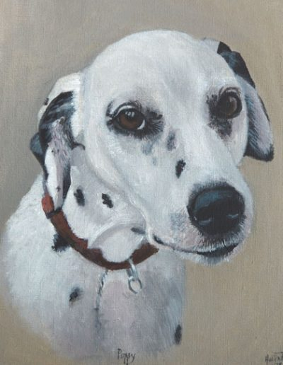 Dalmatian-painting-on-canvas,-acrylic-paints