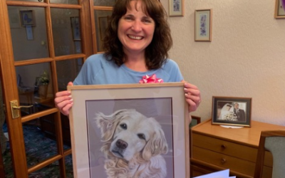 Delighted customer with her pet portrait from Paintpaws